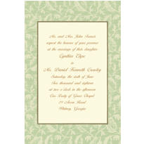 Sage Damask/Ecru Custom Invitation