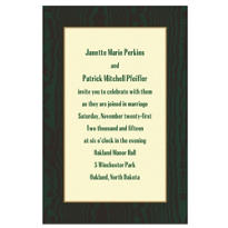 Dark Green Moir Ecru Custom Invitation