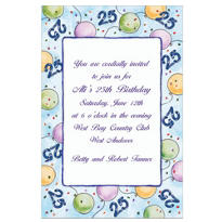 Party Balloons 25 Custom Invitation