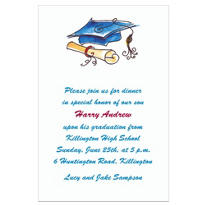Fun Cap & Diploma Blue Custom Invitation