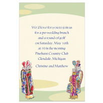 His and Hers Golf Clubs Custom Wedding Invitation