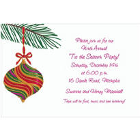 Green and Red Ornament Custom Christmas Invitation