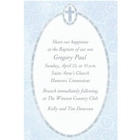 Blue Cross with Filigree Custom Invitation