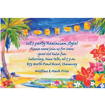 Custom Pretty Luau Sunset Luau Invitations
