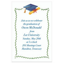 Blue Mortarboard & Ivy Custom Graduation Invitation