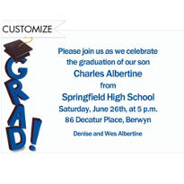 Toppling Grad Custom Invitation