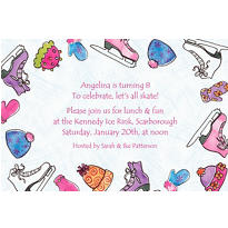 Girl's Ice Skating Party Custom Invitation