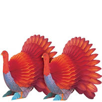 Mini Honeycomb Turkey Centerpieces 6in 2ct