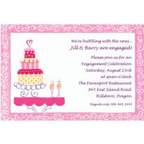 Bridal Shower Cake & Champagne Custom Bridal Shower Invitation