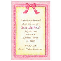 Pink Baby Frills Custom Birth Announcements