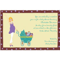 Momma with Baby Carriage Custom Baby Shower Invitation