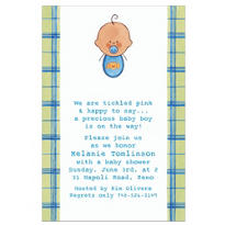 Baby Boy Portrait Latino Custom Baby Shower Invitation