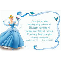 Cinderella with Birds & Ribbon Custom Invitation