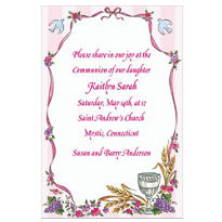 Chalice, Pink Ribbon and Doves Custom Invitation