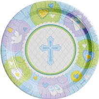 Blue Sweet Religious Lunch Plates 8ct