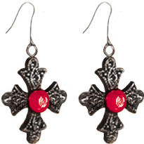 Black and Red Cross Earrings