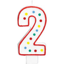 Number 2 Polka Dot Birthday Candle with Glitter 5in