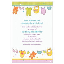 Cuddly Clothesline Custom Baby Shower Invitation