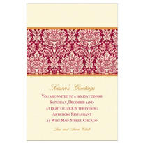 Holiday Damask Red Custom Invitation