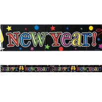 Jewel Tone Foil New Years Banner 9ft