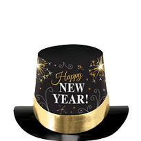 Gold and Silver New Years Top Hat  5in