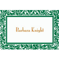 Festive Green Ornamental Scroll Custom Thank You Note