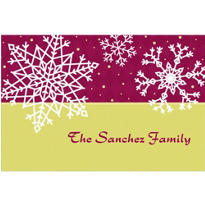 Simple Snowflake Red Custom Christmas Thank You Note