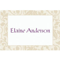 Taupe Damask Border Custom Thank You Note