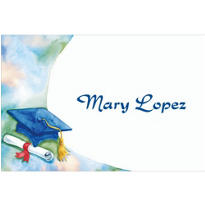 Blue Mortarboard and Swoosh Custom Thank You Notes