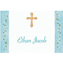 Custom Filigree Cross with Vines Thank You Notes