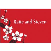 Bold Cherry Blossoms Custom Thank You Note