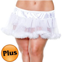 Adult White Marabou Petticoat Plus Size