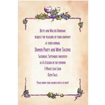 Grapes and Wine Border Custom Invitation