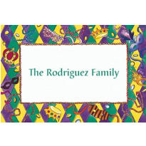 Mardi Gras Border Custom Thank You Note