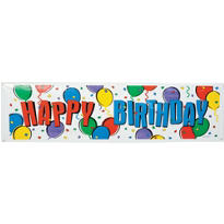 Balloon Party Happy Birthday Giant Sign Banner 65in x 20in