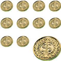 Gold Coins 48ct<span class=messagesale><br><b>34¢ per piece!</b></br></span>