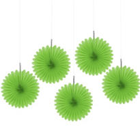 Kiwi Green Mini Fan Decorations 5ct