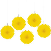 Sunshine Yellow Mini Fan Decorations 5ct