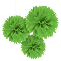 Kiwi Green Fluffy Decorations 3ct
