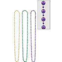 Disco Ball Mardi Gras Bead Necklaces 48in 3ct