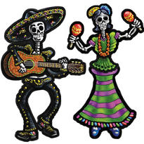 Day of the Dead Jointed Cutouts 14in 2ct