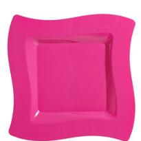 Bright Pink Premium Plastic Wavy Dinner Plates 10ct