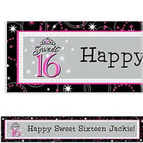 Sweet 16 Sparkle Custom Birthday Banner