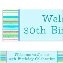 Blue Watercolor Stripe Custom Banner 6ft