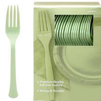 Leaf Green Premium Plastic Forks 100ct