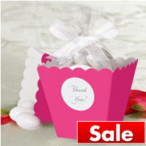 Bright Pink Popcorn Box Wedding Favor Kit 50ct