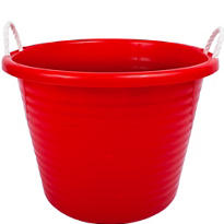 Red Plastic Tub with Rope Handles 17gal