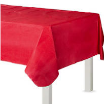Red Flannel-Backed Vinyl Table Cover