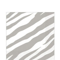 Silver Zebra Print Lunch Napkins 36ct