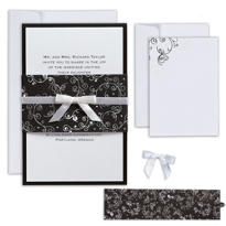 Black & White Scroll Printable Wedding Invitations Kit 25ct